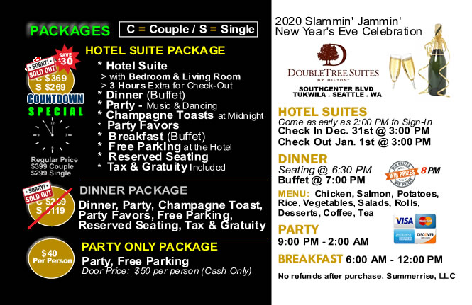 2016 - 2017 Seattle/Tacoma New Year's Eve Hotel Suites, Dinner, and Party Packages at the Doubletree Hotel Suites Southcenter
